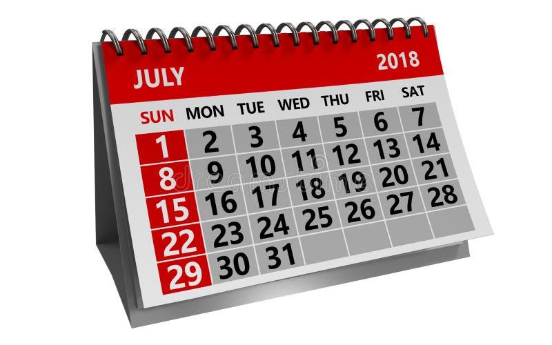 7月2018日历 免版税库存图片