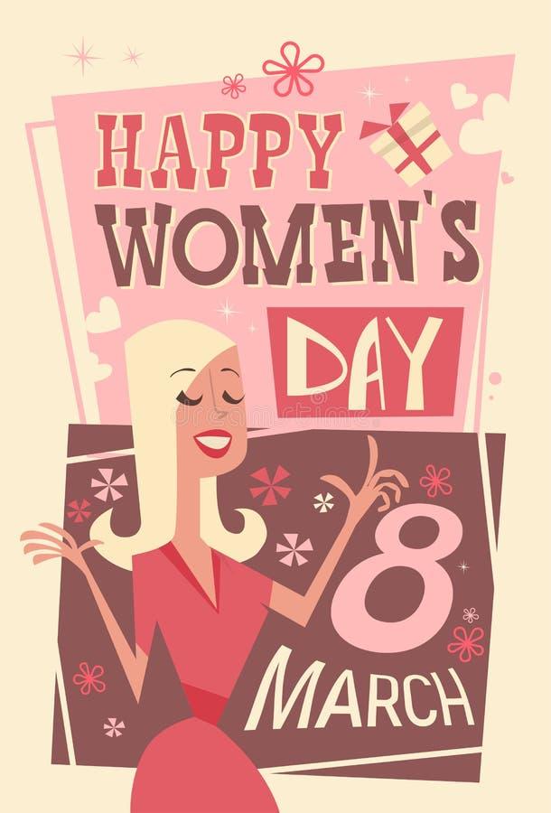 3月8日国际妇女天贺卡减速火箭的海报 库存例证