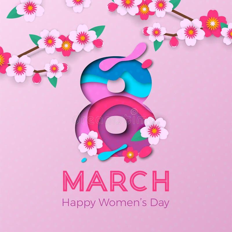 3月8日国际妇女` s天卡片的papercut例证 传染媒介纸削减了与桃红色樱花的第八超 向量例证