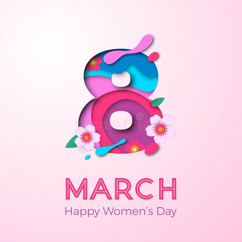3月8日国际妇女` s天卡片的papercut例证 传染媒介纸削减了与樱花的第八在典雅的pi 皇族释放例证