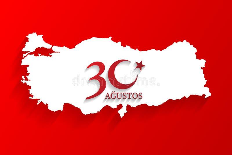 8月30日土耳其白色地图商标,土耳其的胜利天,庆祝背景,传染媒介横幅,土耳其语讲话:30 Agustos扎菲尔 向量例证