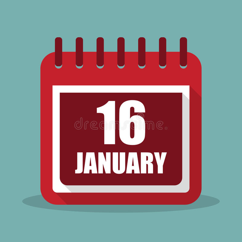 1月16日在一个平的设计的日历 Mlk天 也corel凹道例证向量 库存例证