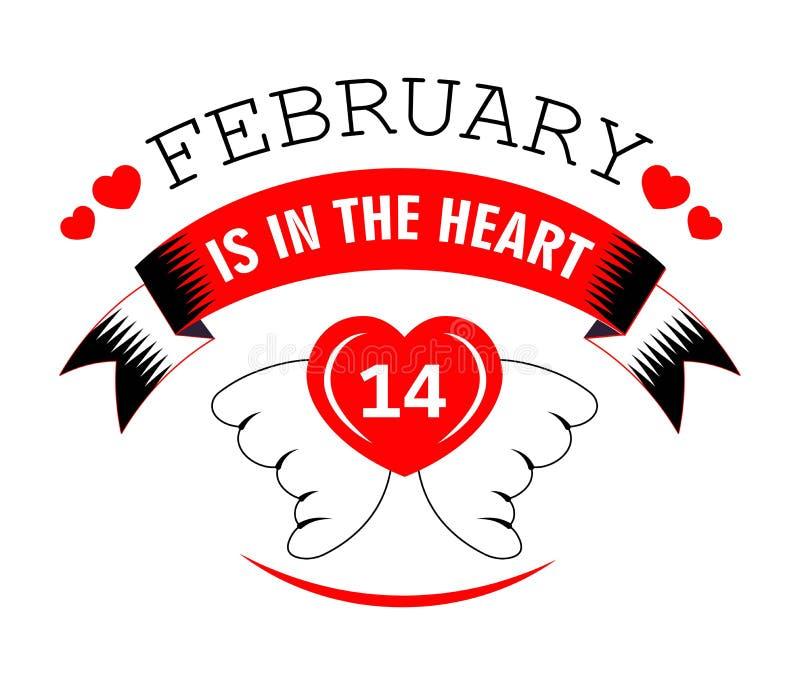 2月14日在心脏情人节被隔绝的象的 向量例证