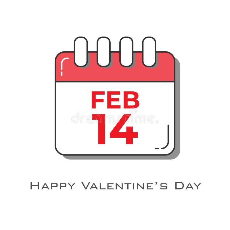 2月14日在红白的颜色的日历在平的设计样式 库存例证