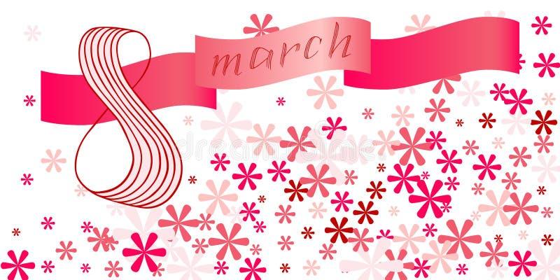 3月8日字法贺卡 国际愉快的妇女` s天 免版税库存图片