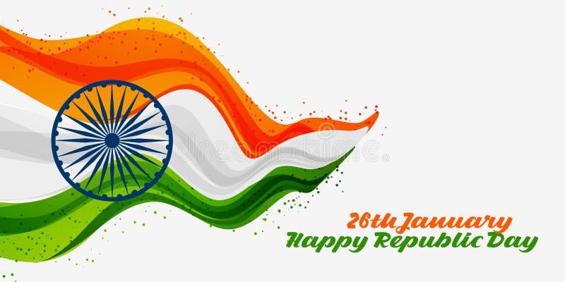 1月26日愉快的共和国天印度背景 向量例证