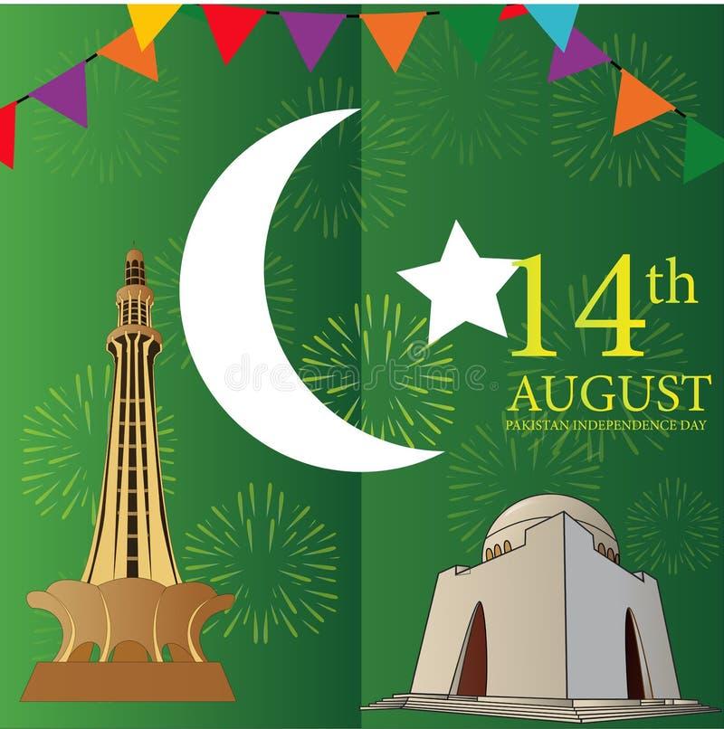 8月14日是天巴基斯坦的独立 向量例证