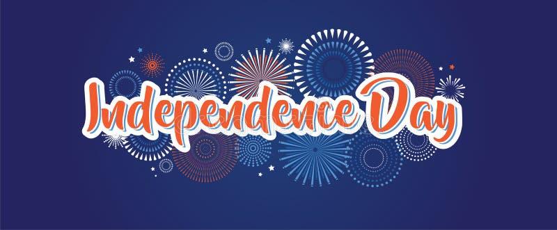 7月4日烟花背景,第四副传染媒介横幅,美国国旗装饰,庆祝美国独立日 向量例证