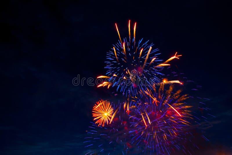 7月4日烟花 烟花在黑暗的天空背景显示 图库摄影