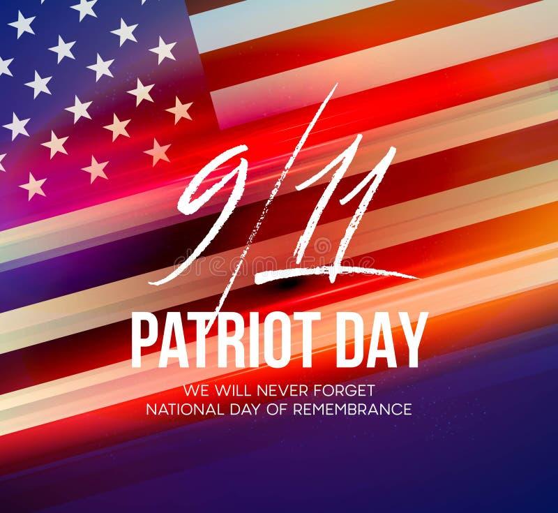 2001年9月11日爱国者天背景 我们不会忘记 背景 也corel凹道例证向量 皇族释放例证
