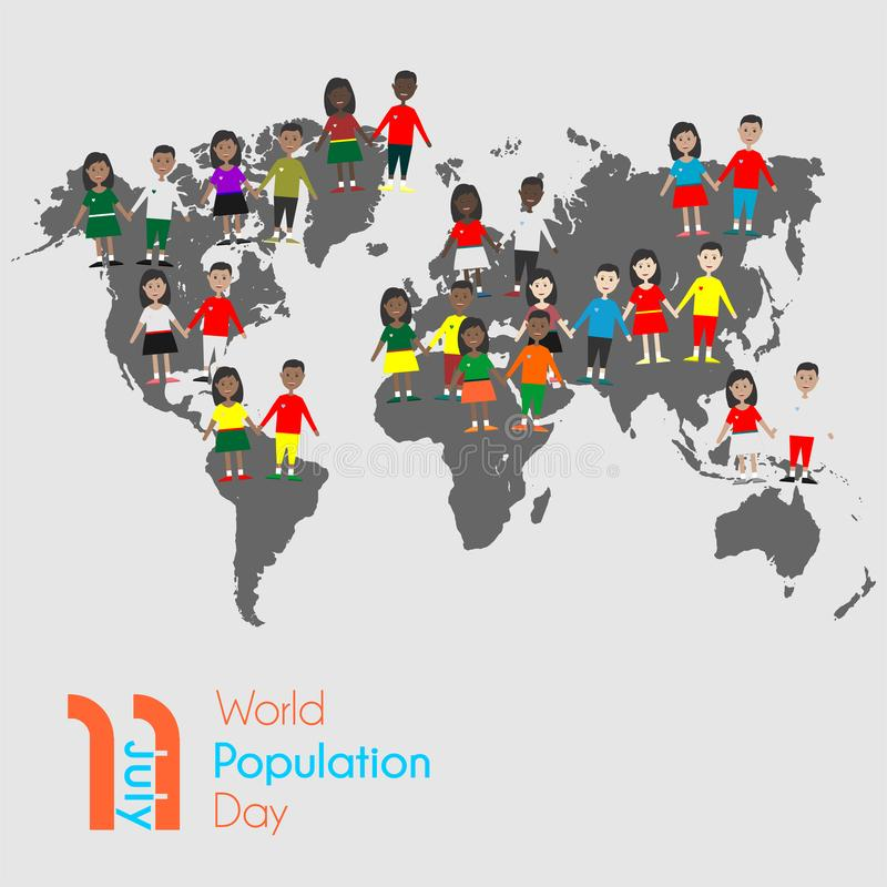 7月11日的世界人口天 向量例证
