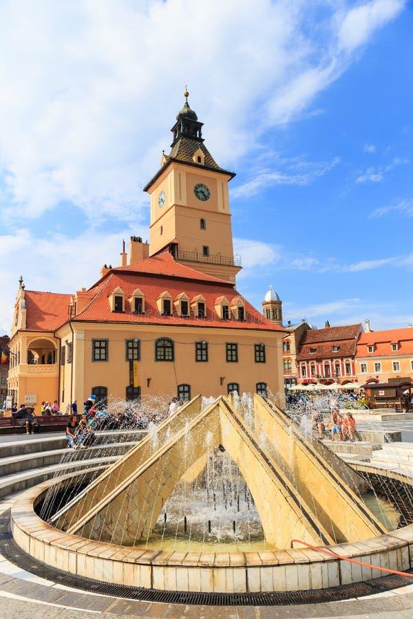 2014年7月15日的委员会正方形在布拉索夫,罗马尼亚 免版税库存照片