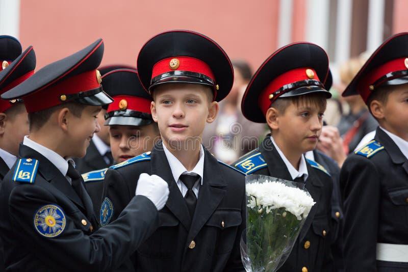 9月1日的游行在第一个莫斯科军校学生军团 库存照片