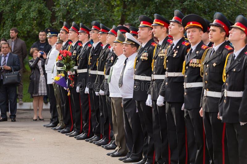 9月1日的游行在第一个莫斯科军校学生军团 库存图片