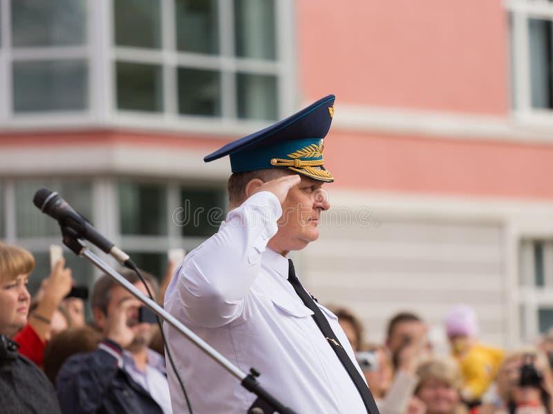 9月1日的游行在第一个莫斯科军校学生军团 免版税库存图片