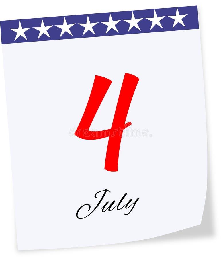 7月4日的美国独立日 排进日程页 免版税库存图片