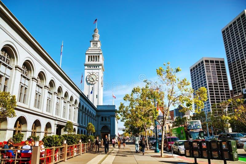 2014年4月24日的著名轮渡大厦在旧金山, Califo 免版税图库摄影
