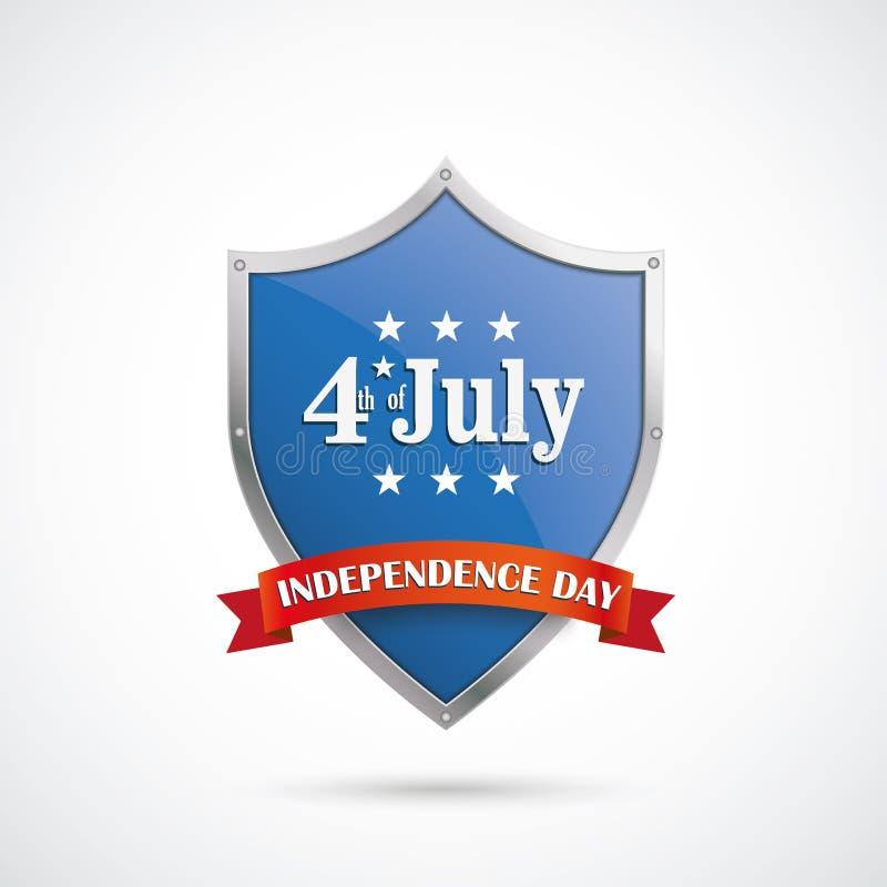 7月4日蓝色银色保护盾红旗 库存例证