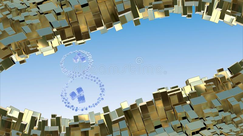 3月8日词由水下落做成和在抽象山的冰块使金属箱子环境美化背景  装饰招呼的pos 皇族释放例证