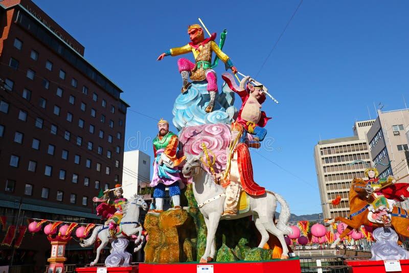 2017年1月27日长崎,日本 在农历新年庆祝期间的每年长崎灯节装饰 库存图片
