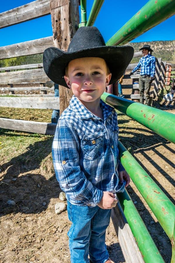 2017年4月22日,里奇韦科罗拉多:在烙记在百年大农场的牛期间的年轻牛仔,里奇韦,科罗拉多-有安格斯的一个大农场 免版税库存照片