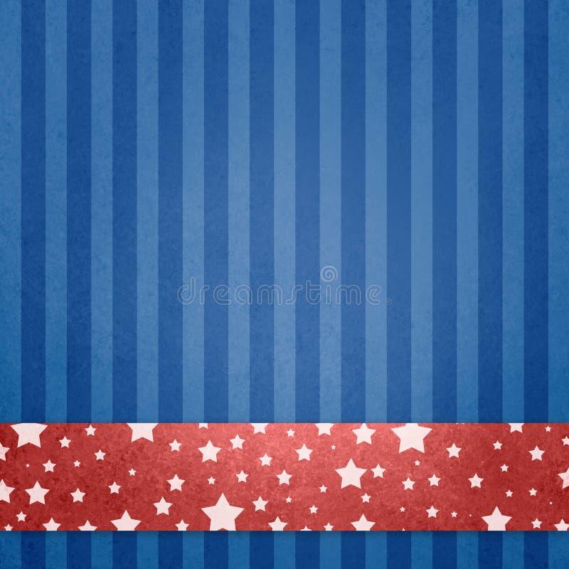 7月4日,阵亡将士纪念日或者退伍军人日背景与白色星的红色白色和蓝色爱国背景在红色条纹或ribbo 向量例证