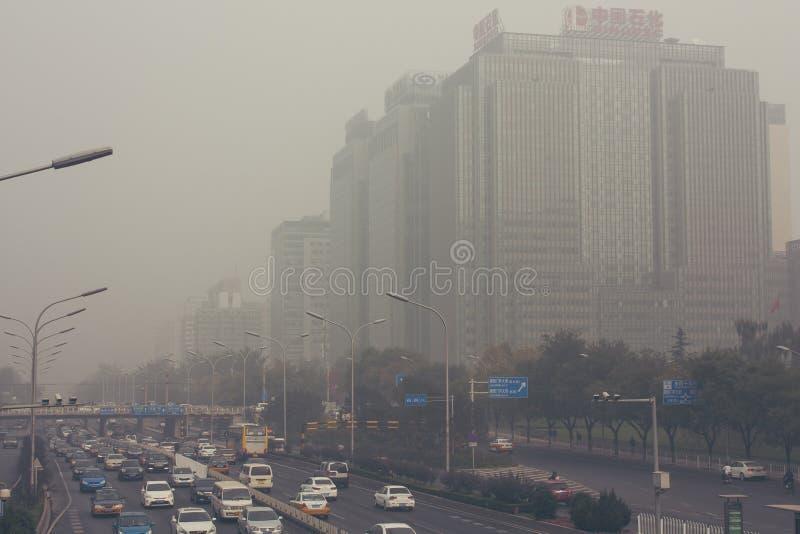 2014年10月24日, -北京中国 大气污染在北京中国 免版税库存图片