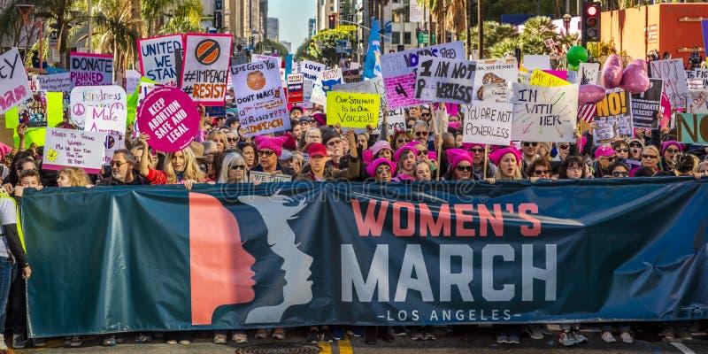 2017年1月21日,洛杉矶,加州 750,000参加妇女的3月,抗议的活动家唐纳德J 王牌在最大国家的 免版税图库摄影
