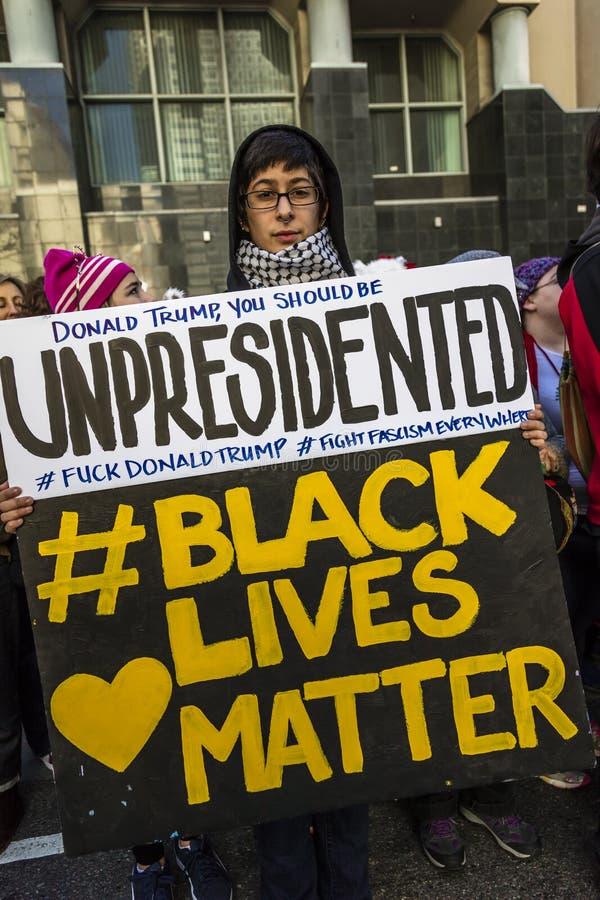 2017年1月21日,洛杉矶,加州 750,000参加妇女的3月,抗议的活动家唐纳德J 王牌在最大国家的 库存图片