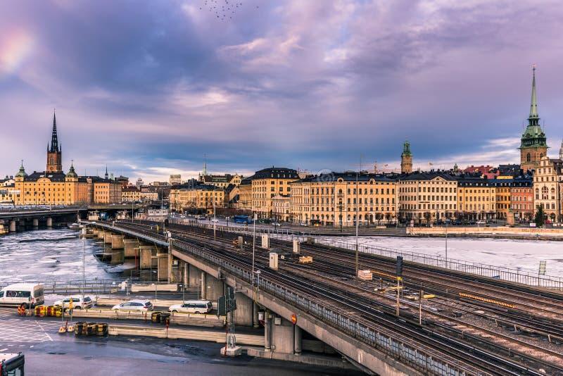 2017年1月21日:地铁铁路在老镇斯德哥尔摩, S 免版税库存图片