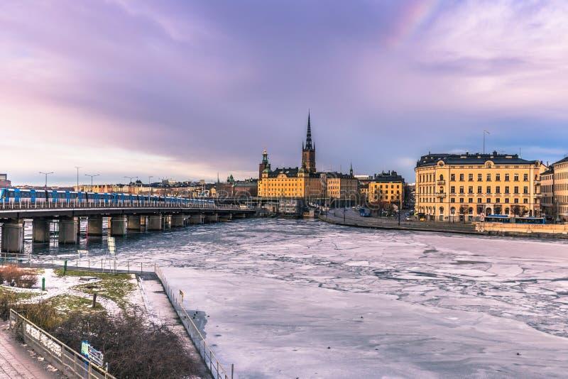 2017年1月21日:斯德哥尔摩,瑞典老镇的全景  免版税库存图片
