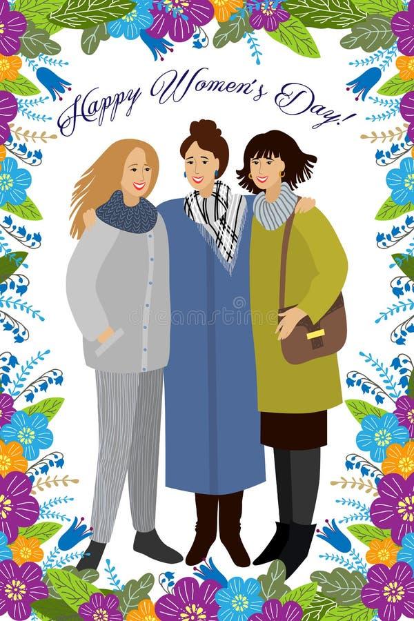 3月8日 与五颜六色的乱画花和叶子的妇女 导航卡片、海报、飞行物和其他用户的模板 向量例证