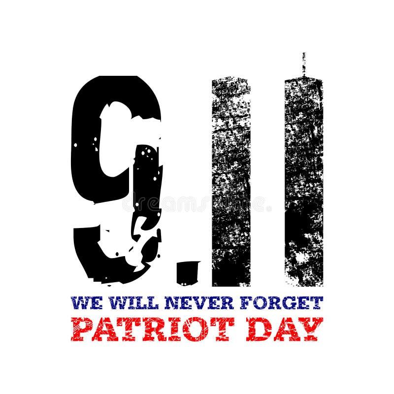 9月11日 为美国假日,爱国者天导航llustration 美国人姊妹楼国家标志, 11 9设计 库存例证