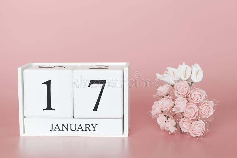 1月17日 天17月 在现代桃红色事务的背景、概念和一个重要事件的日历立方体 库存图片