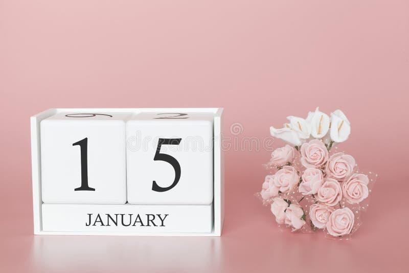 1月15日 天15月 在现代桃红色事务的背景、概念和一个重要事件的日历立方体 库存照片
