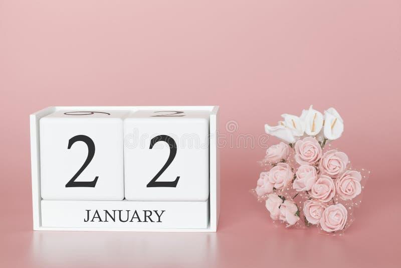 1月22日 天22月 在现代桃红色事务的背景、概念和一个重要事件的日历立方体 库存图片