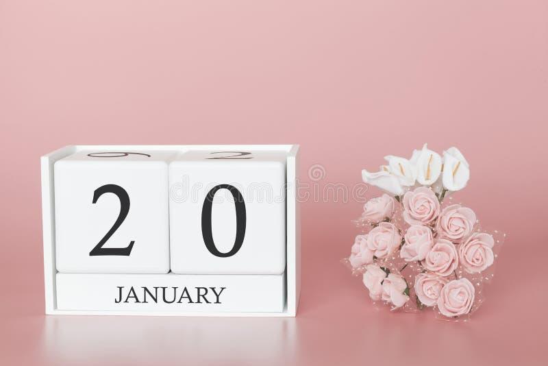 1月20日 天20月 在现代桃红色事务的背景、概念和一个重要事件的日历立方体 库存图片