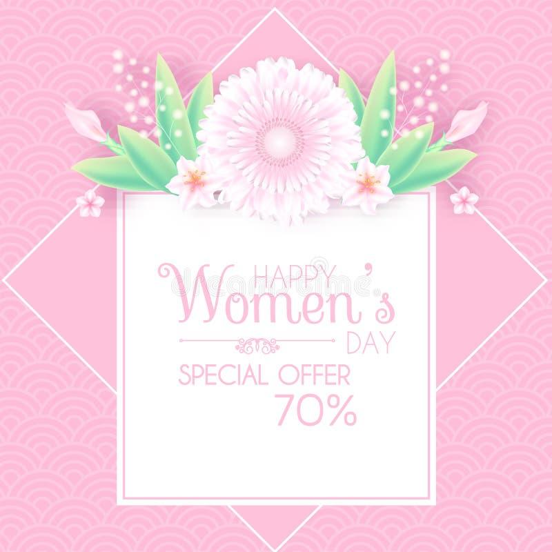 3月8日 妇女` s天问候和邀请与软的花 逗人喜爱的卡片设计模板为生日,周年 向量例证