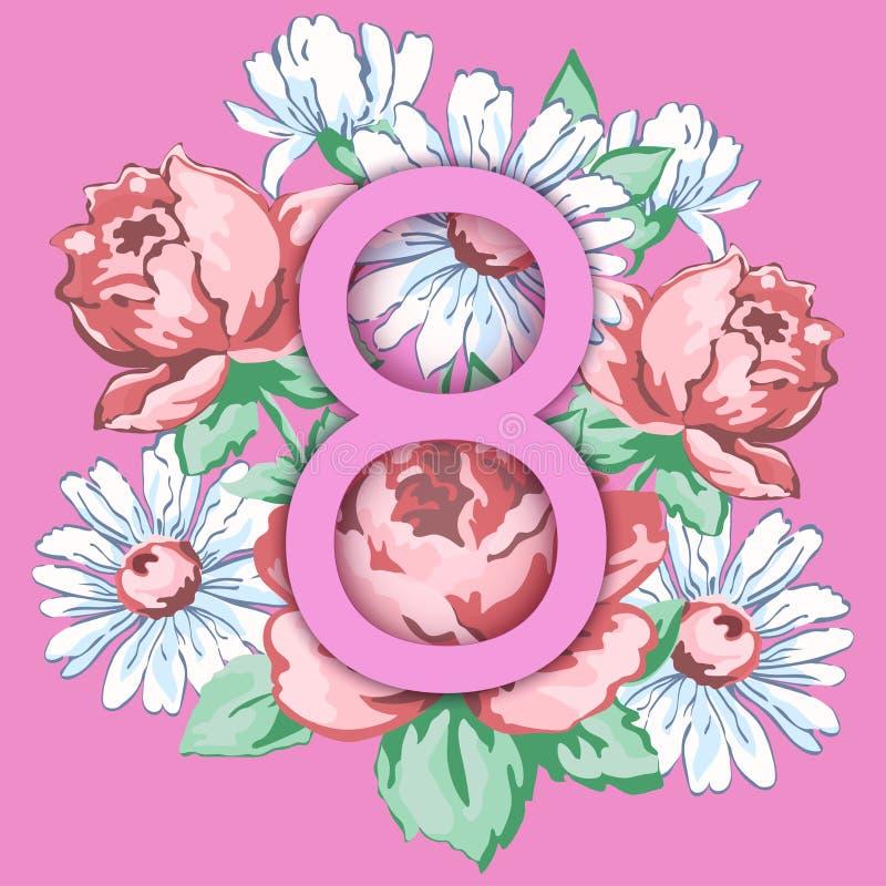 3月8日 愉快的妇女` s天贺卡,花卉横幅,假日传染媒介背景 在一手拉花卉桃红色8 向量例证