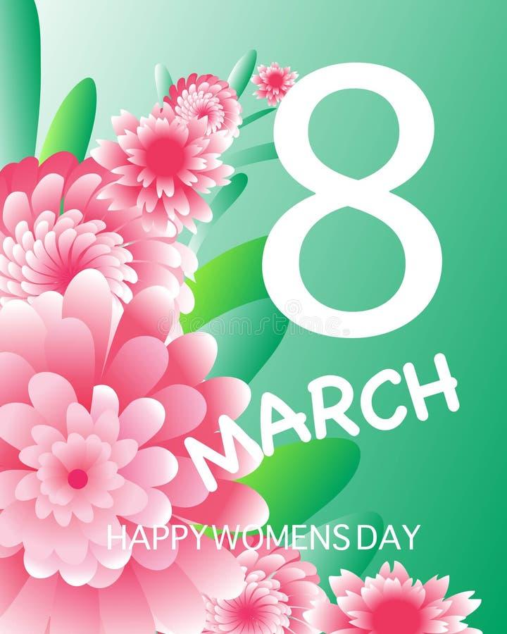3月8日 愉快的妇女` s母亲` s天 蓝色卡片设计花卉问候 纸刻花 Origami花 方形框架 向量例证
