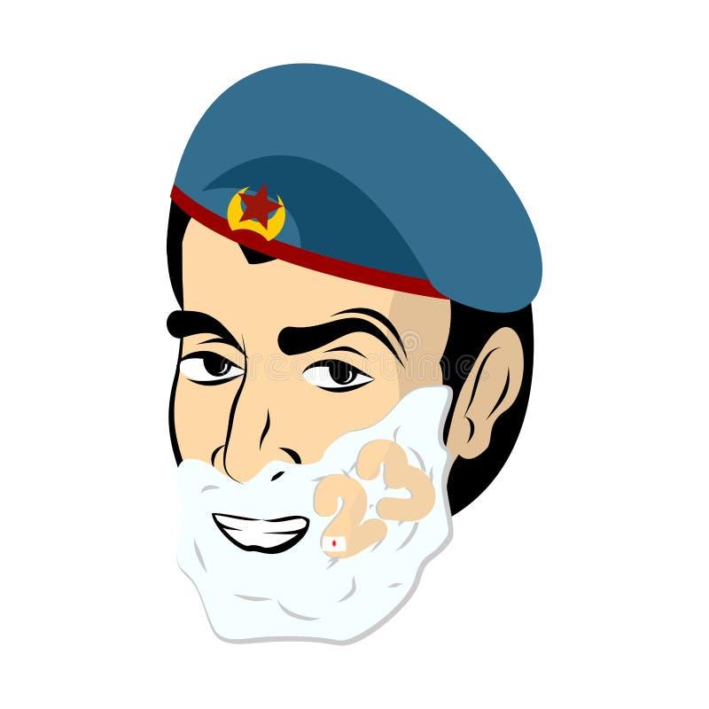 2009年2月23日 战士刮脸 刮在他的面孔的泡沫 军事h 库存例证