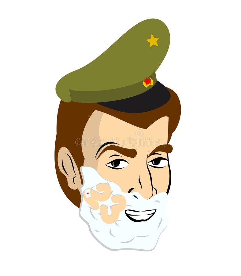 2009年2月23日 战士刮脸 刮在他的面孔的泡沫 军事h 皇族释放例证
