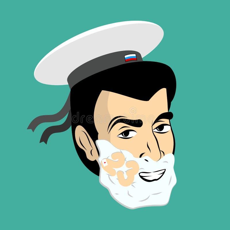 2009年2月23日 战士刮脸 刮在他的面孔的泡沫 军事h 向量例证