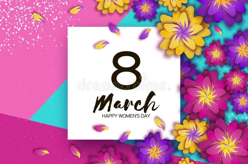 3月8日 明亮的桃红色Origami花 愉快的妇女天 时髦母亲节 纸被削减的异乎寻常的热带花卉问候 向量例证