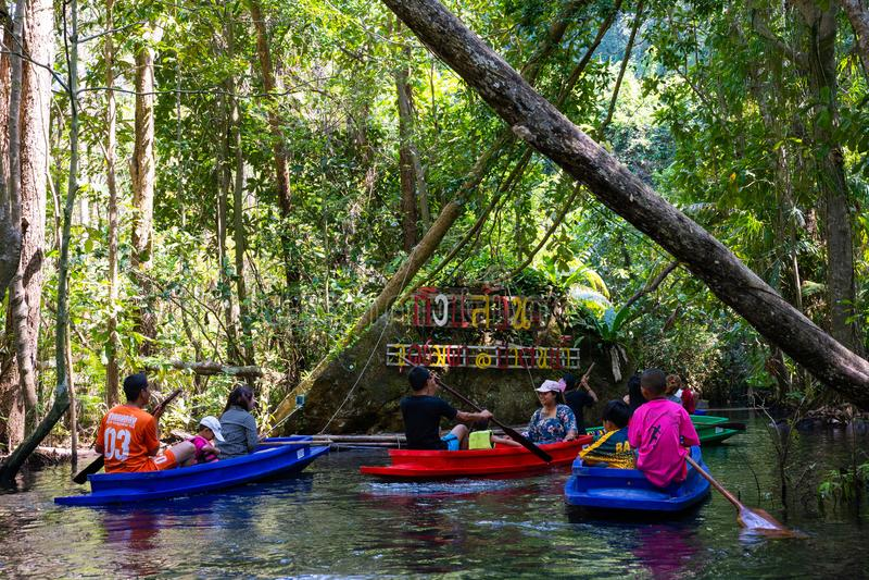 12月22日2018泰国:旅行美洲红树森林乘划艇 免版税库存图片