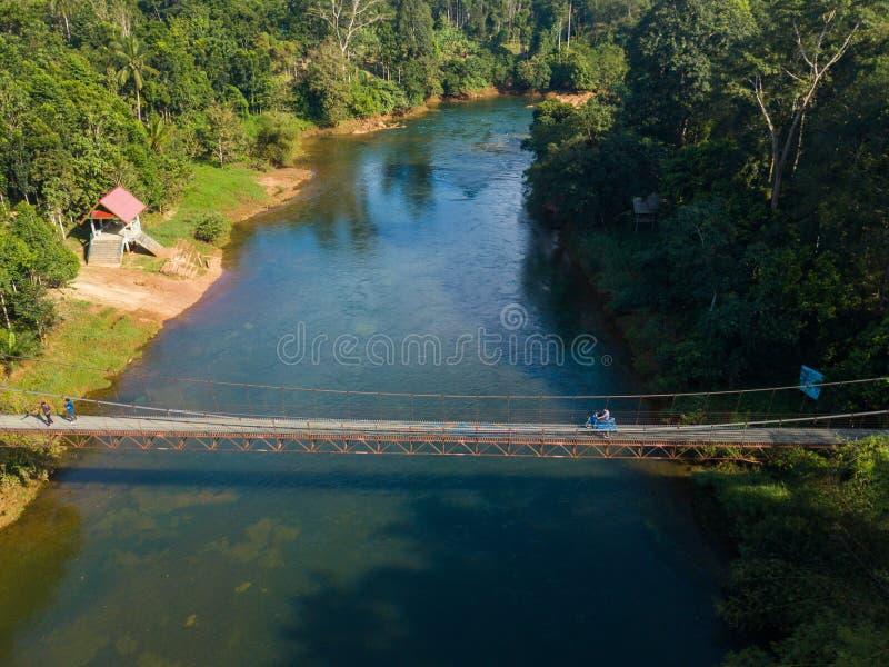 12月21日2018泰国:铁十字架的吊桥河 库存照片