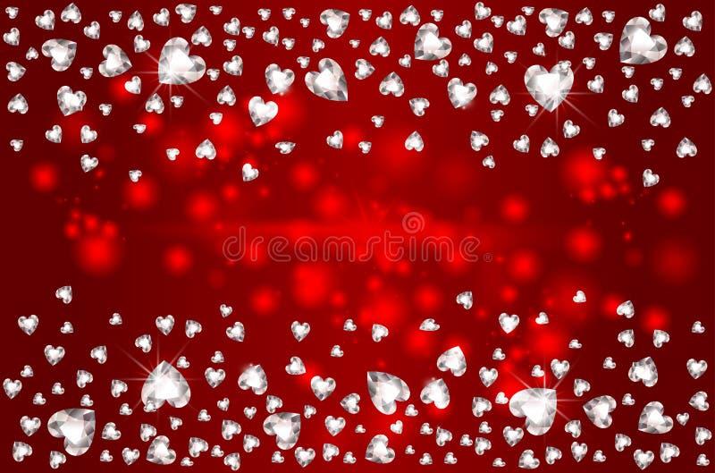 2月14日 落的宝石金刚石心脏,为圣情人节 库存例证