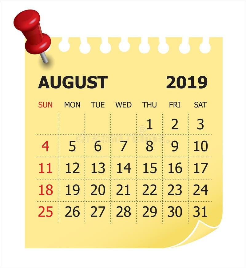 8月2019月度日历传染媒介例证.图片