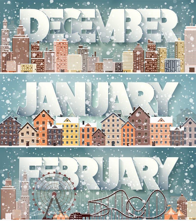 2月12月1月月,冬天都市风景 城市剪影 镇地平线 中间地区房子全景 新年度 向量例证