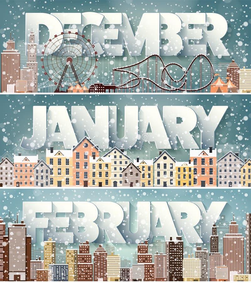 2月12月1月月,冬天都市风景 城市剪影 镇地平线 中间地区房子全景 新年度 皇族释放例证